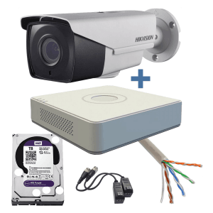 Sistem complet supraveghere video Turbo HD, 2MP, zoom motorizat, 2 camere exterior, IR 40m Hikvision KBB-HOME-2EZ