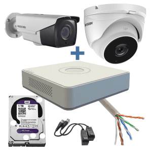 Sistem complet supraveghere video Turbo HD, 2MP, zoom motorizat, 1 camera interior, 1 exterior, IR 40m Hikvision KBB-HOME-2IEZ