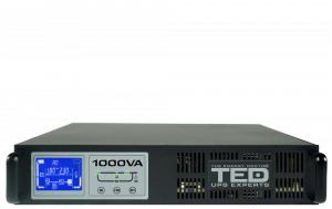UPS 1000VA / 1000W monofazat, rackabil 2U online 2 iesiri schuko TED