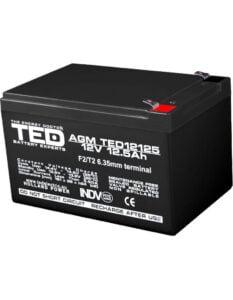 Acumulator stationar 12V 12,5Ah F2 AGM VRLA TED Electric TED12125