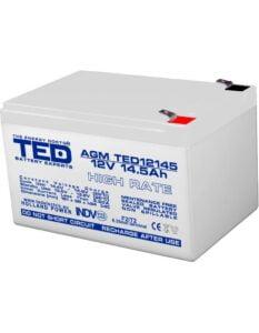Acumulator stationar 12V 14,5Ah High Rate F2 AGM VRLA TED Electric TED12145