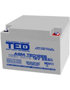Acumulator stationar 12V 28Ah High Rate M5 AGM VRLA TED Electric TED1228