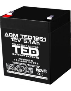 Acumulator stationar 12V 5,1Ah F2 AGM VRLA TED Electric TED1251