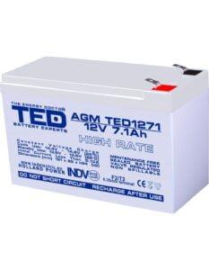 Acumulator stationar 12V 7,1Ah High Rate F2 AGM VRLA TED Electric TED1271HR
