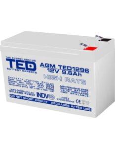 Acumulator stationar 12V 9,6Ah High Rate F2 AGM VRLA TED Electric TED1296