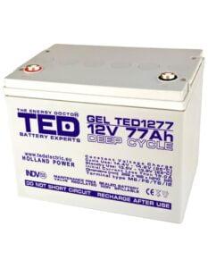 Acumulator stationar VRLA 12V 77Ah GEL Deep Cycle M6 TED Electric TED1277